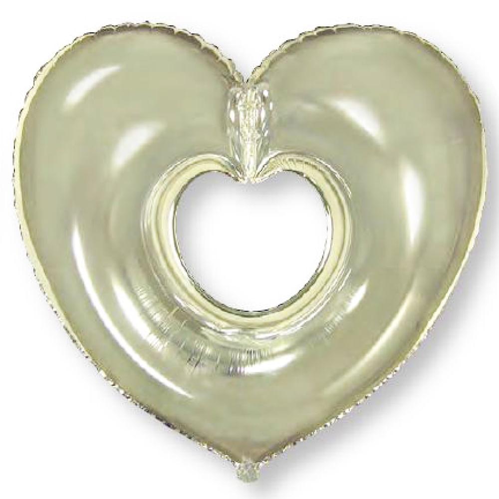 Balão Metalizado Coração Aberto Prata Flexmetal