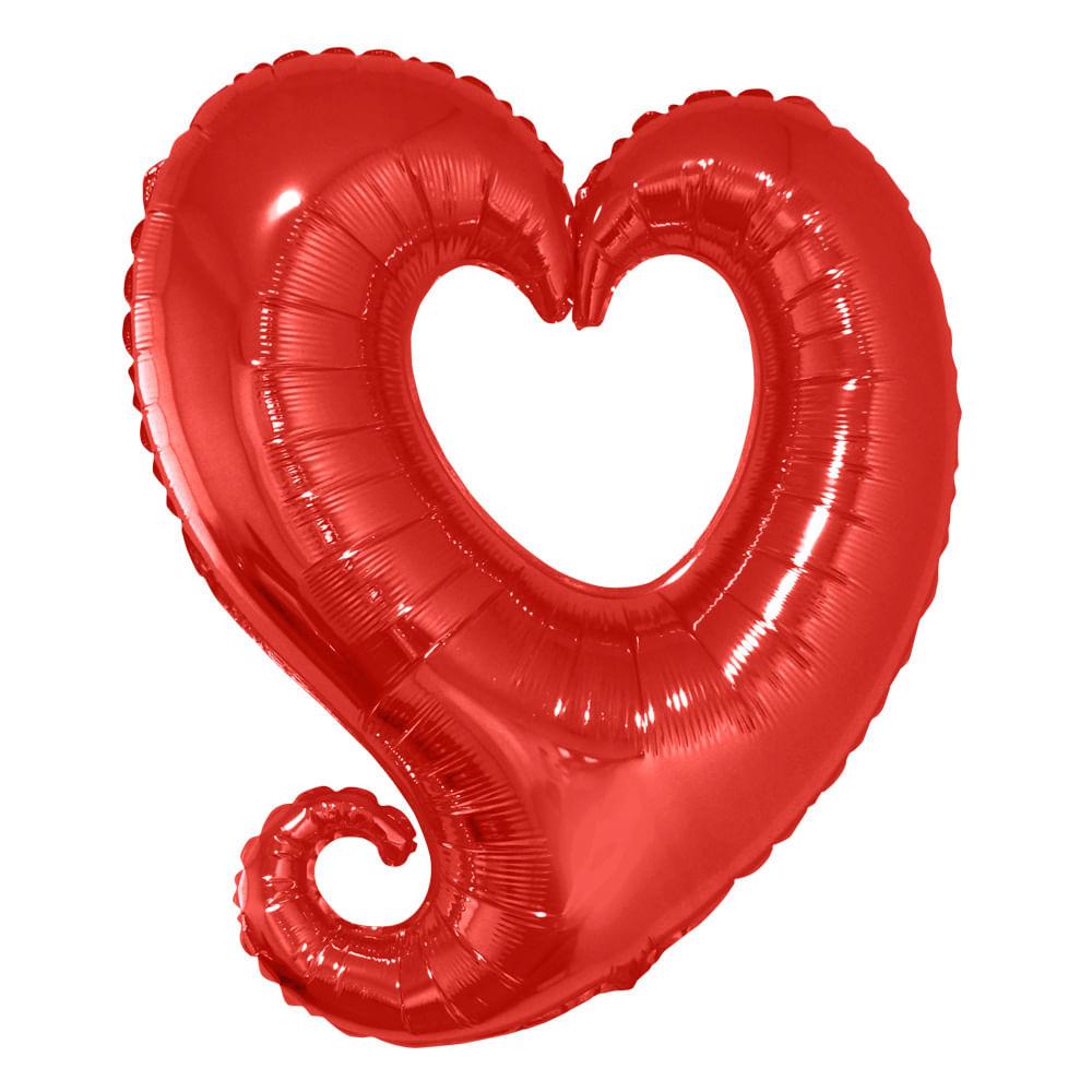 Balão Metalizado Coração Link Vermelho