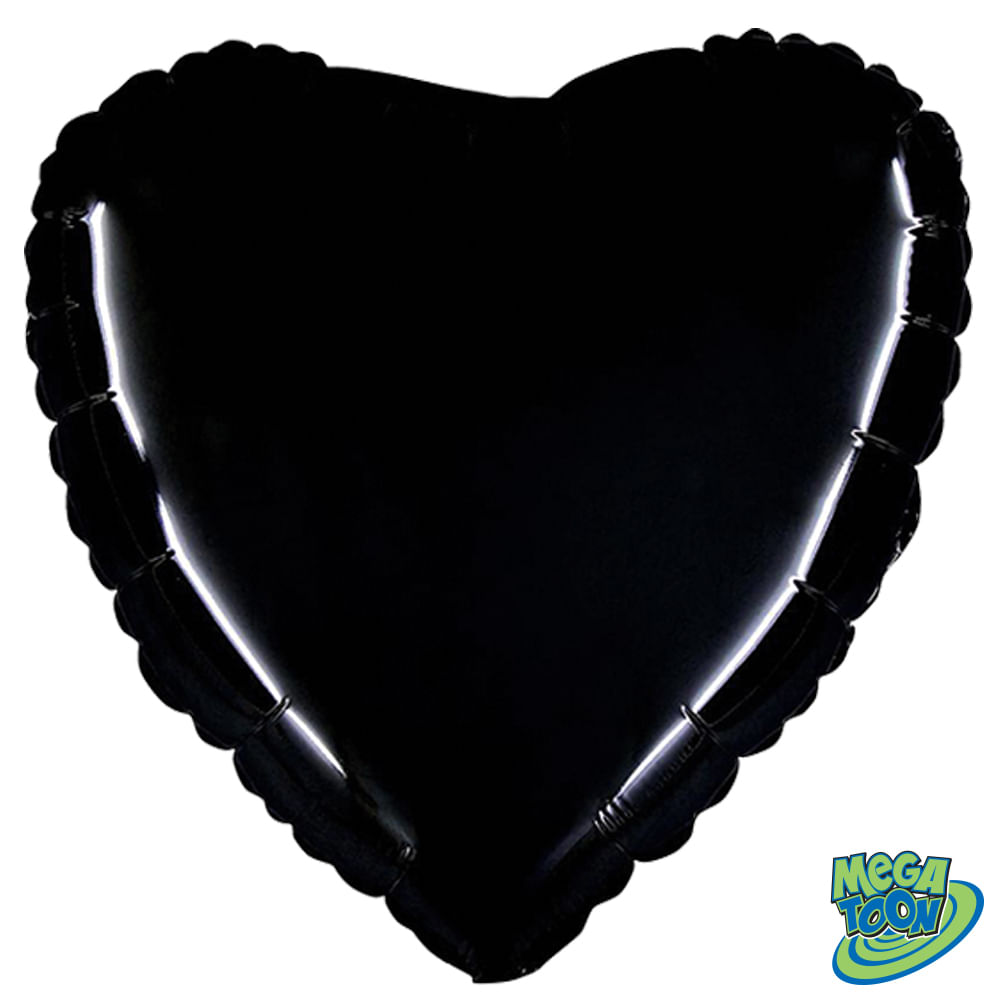 Balão Metalizado Coração Preto Crabo 18 polegadas