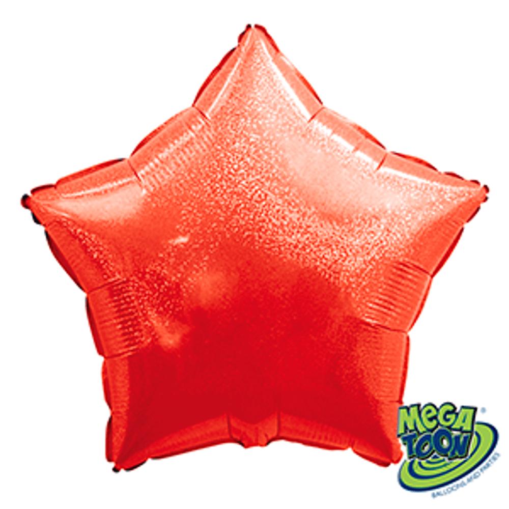 Balão Metalizado Estrela Hologlitter Vermelha  18 Polegadas