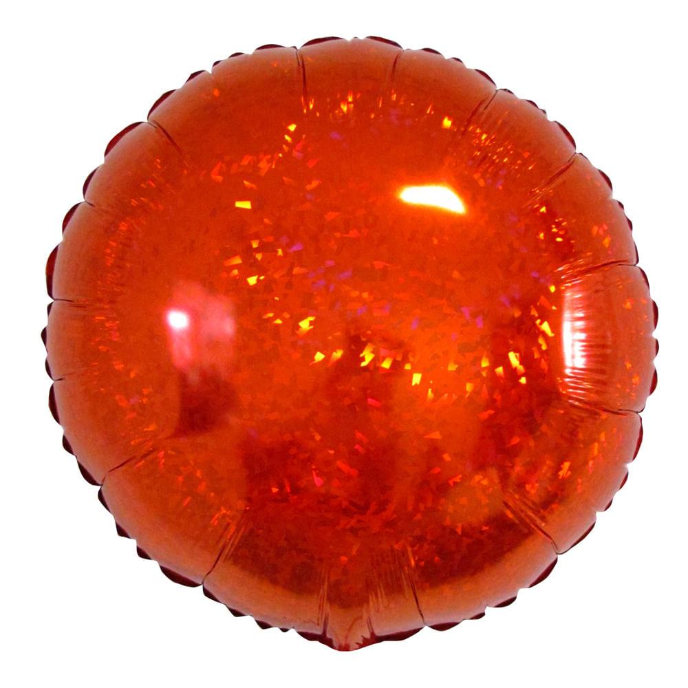Balão Metalizado Redondo Hologlitter Vermelho 18 polegadas