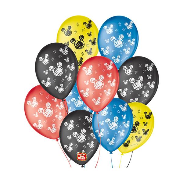 Balão Decorado Orelha De Rato Sortido São Roque Nº9/ 25 Unidades
