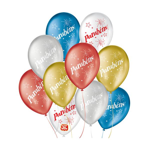 Balão Decorado Parabéns Cintilante São Roque Nº9/ 25 Unidades