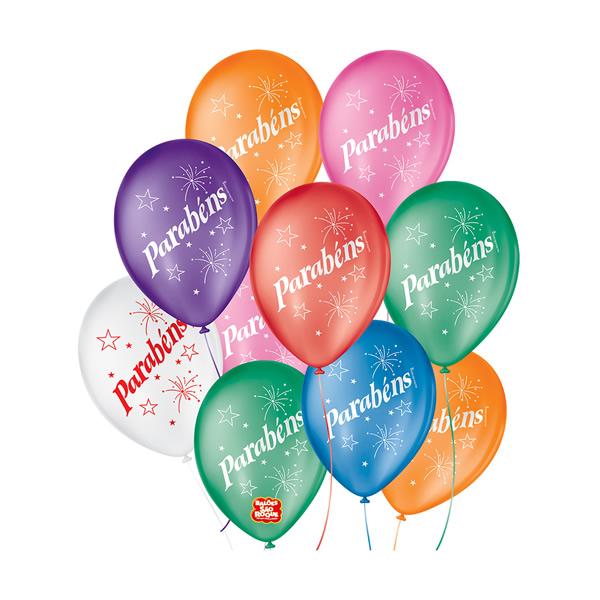 Balão Parabéns Sortido São Roque Nº9/ 25 Unidades