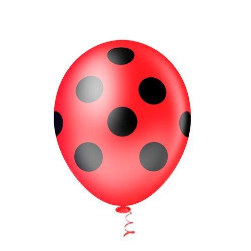 Balão PIC PIC Decorado Bolinha Vermelho C Preto Nº10/ 25 unidades