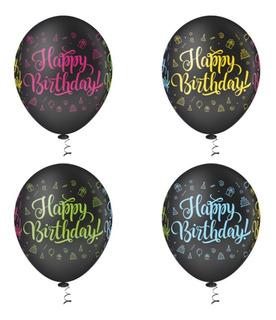 Balão  PIC PIC Decorado Happy Birthday Nº10/ 25 Unidades