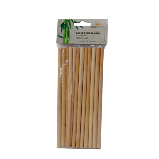 Canudo De Bambu / 12 Unidades