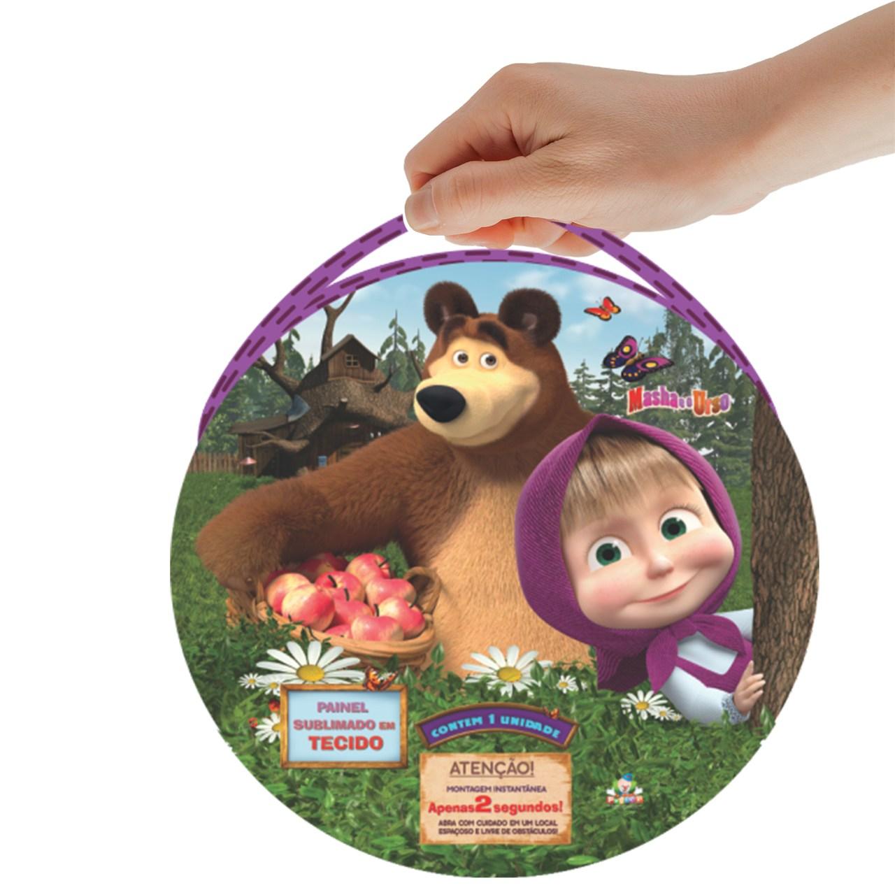 Painel Sublimado em Tecido Masha e o Urso