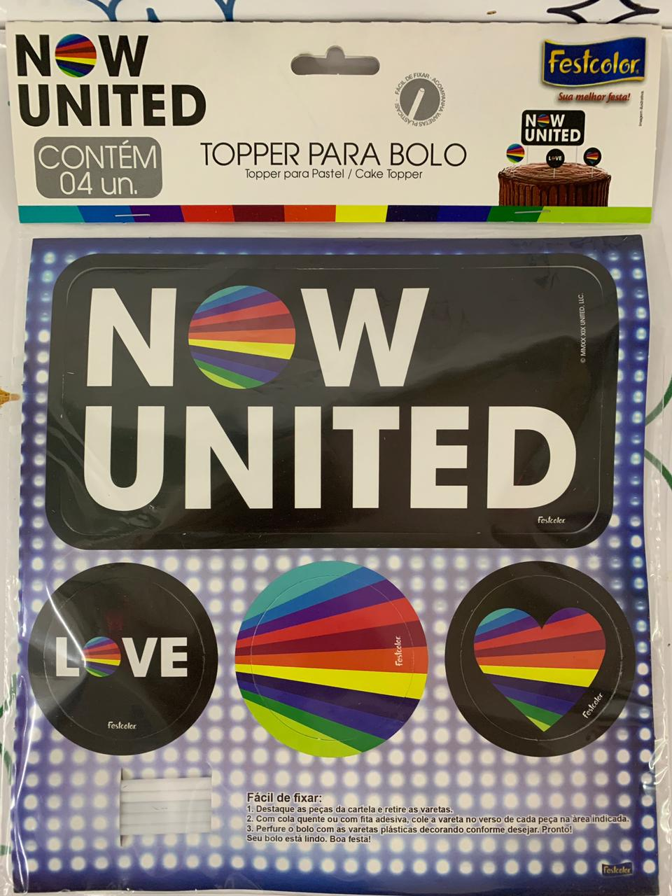 Topper Para Bolo  Now United / 04 Unidades