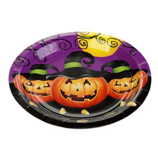 Prato de 18 cm Abobora Halloween / 10 Unidades