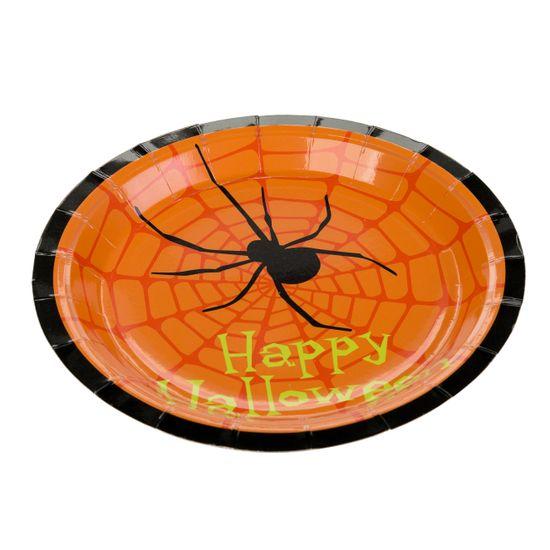 Prato De Papel 18 cm Aranha Halloween / 10 Unidades