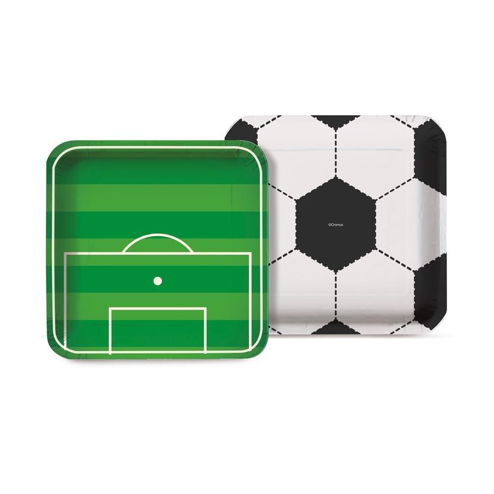 Prato Quadrado 18 cm Futebol / 08 Unidades