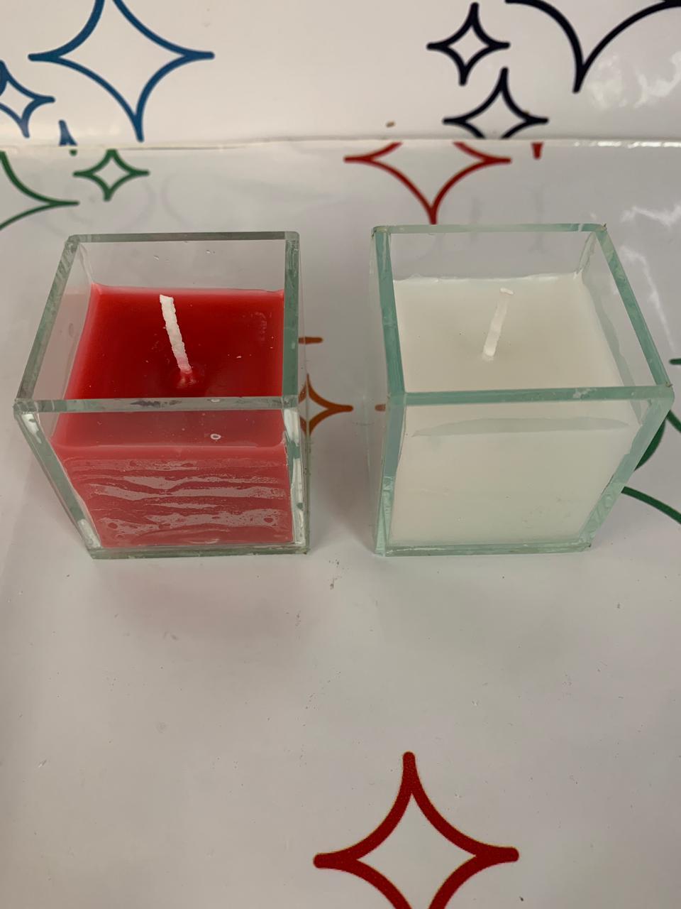 vela com vidro quadradinho 5x5 com vela branca