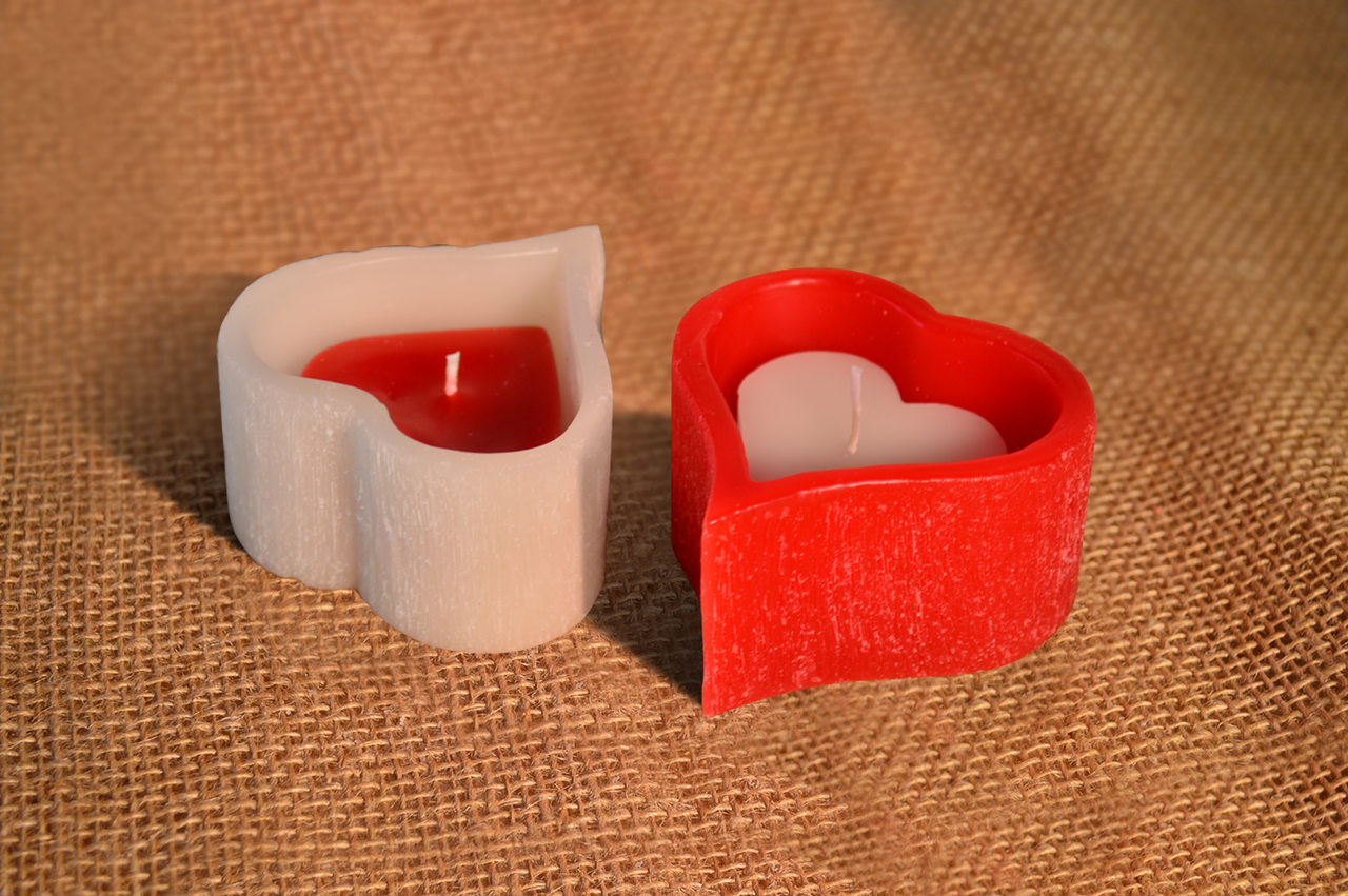 Vela Coração Vazado M Com Coração Cheio p vermelho\branco Romântica