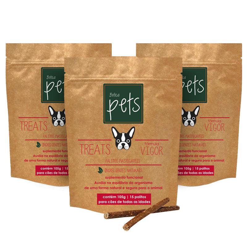 Kit com 3 Suplementos Funcionais em Palitos para Cães | Fórmula Vigor