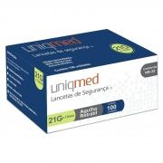 Lanceta de Segurança 21G Uniqmed - 100 unidades