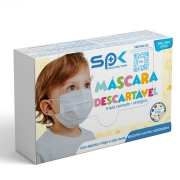 Máscara Infantil Tripla Proteção Branca com Bolinhas Caixa C/50 - SP Protection