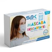 Máscara Infantil Tripla Proteção Branca com Estrelinhas Caixa C/50 - SP Protection