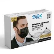 Mascara Tripla Proteção Descartável Preta Caixa com 50 - SP Protection