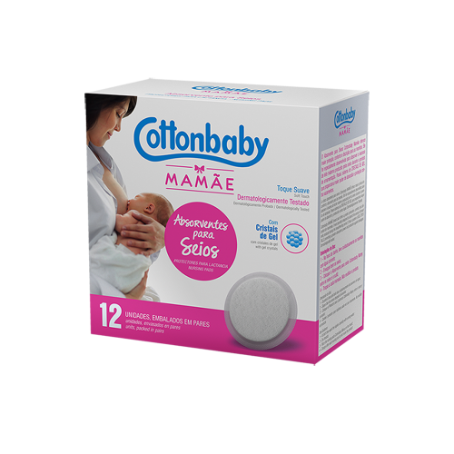 Absorventes para Seios Cottonbaby Mamãe - c/ 12 unidades