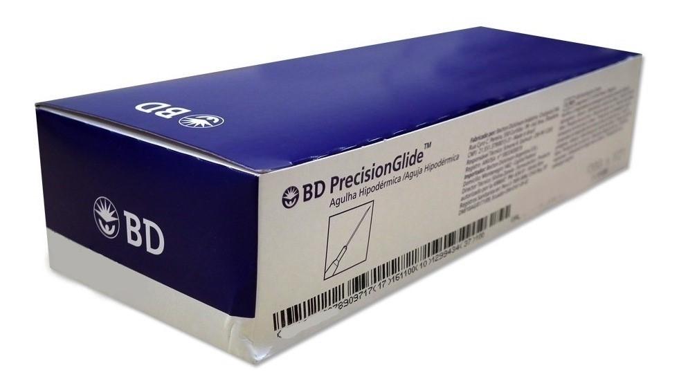 """Agulha Hipodérmica 13 x 0,45 mm (26G x 1/2"""") BD PrecisionGlide (Caixa com 100 Unidades)"""