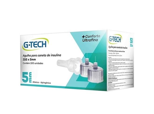 Agulha para Caneta de Insulina 5mm 100 unidades - G-TECH