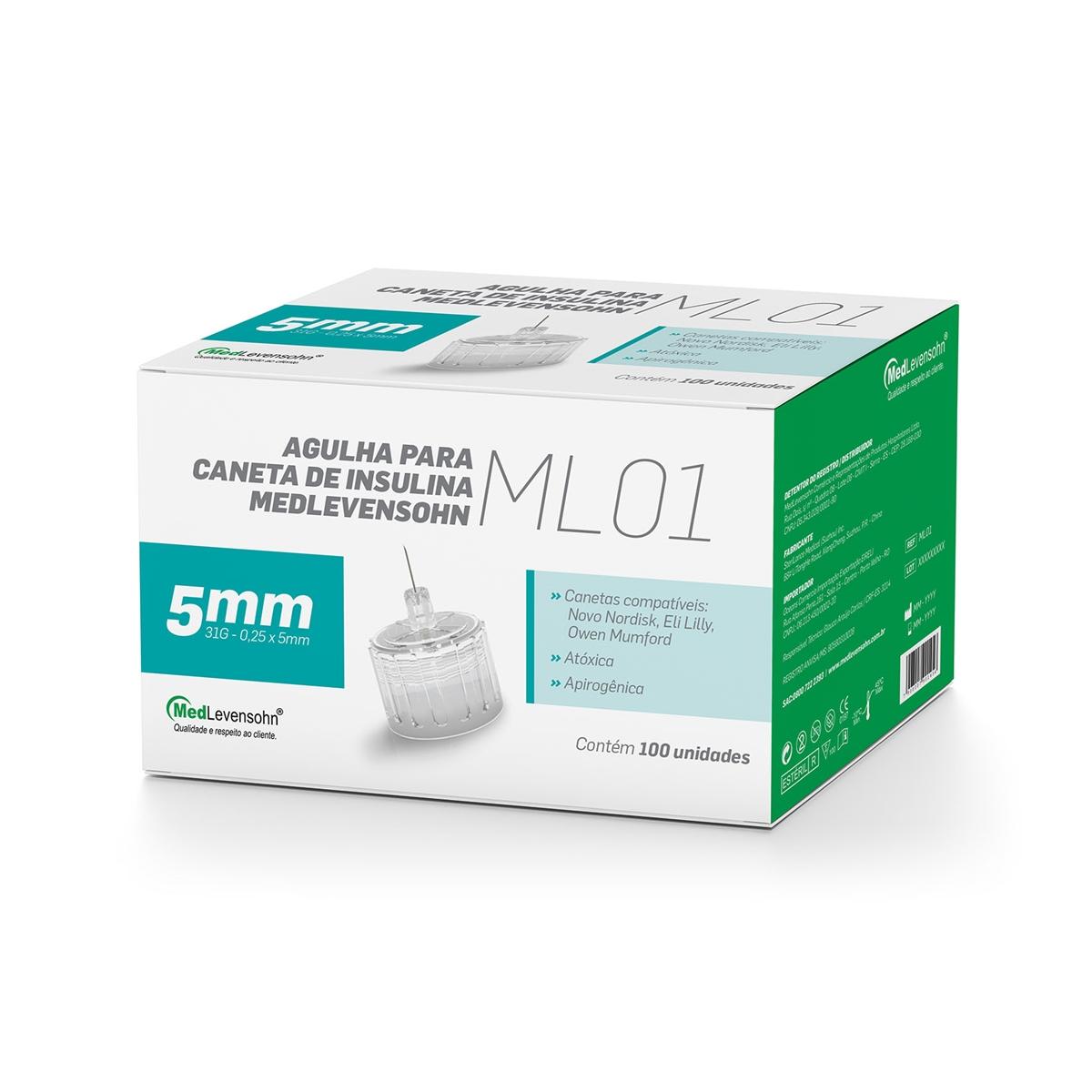 Agulha para Caneta de Insulina 5mm 100 unidades - MedLevensohn