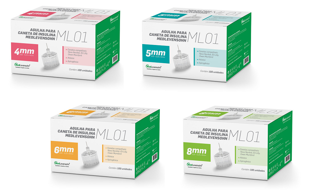 Agulha para Caneta de Insulina 8mm 100 unidades - MedLevensohn