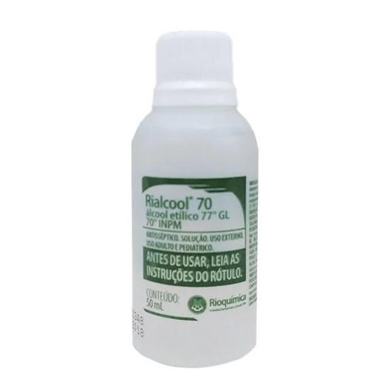 Álcool 70% Liquido 50 ml Rialcool Rioquimica - 12 unidades