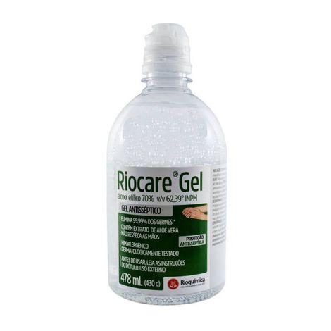 Álcool em Gel 70% 478ml  Antisséptico com Aloe Vera Riocare - 12 unidades