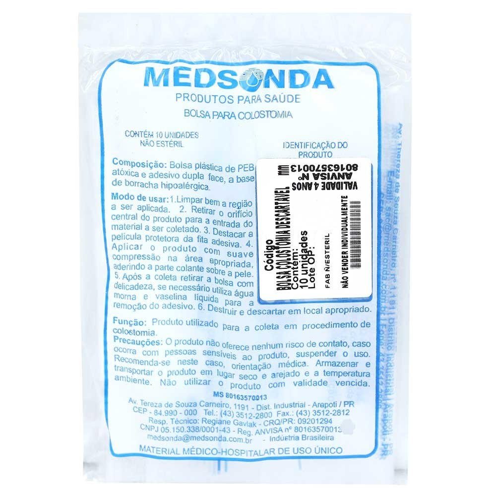 Bolsa para Colostomia 50mm 10 unidades - MedSonda