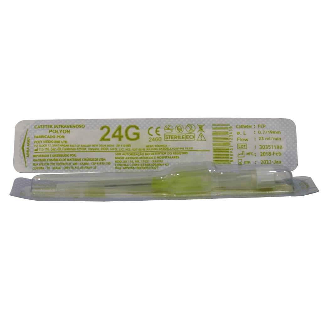 Cateter Intravenoso 24G - 50 unidades - Polyon