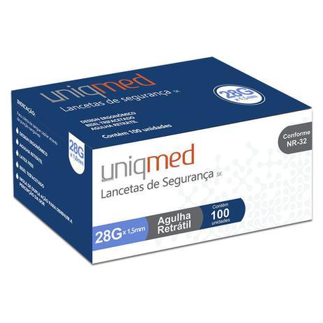 Lanceta de Segurança 28G Uniqmed - 100 unidades