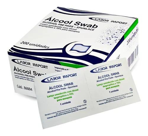 Lenços Umedecidos com Álcool 70% Swab - 200 unidades Labor Import