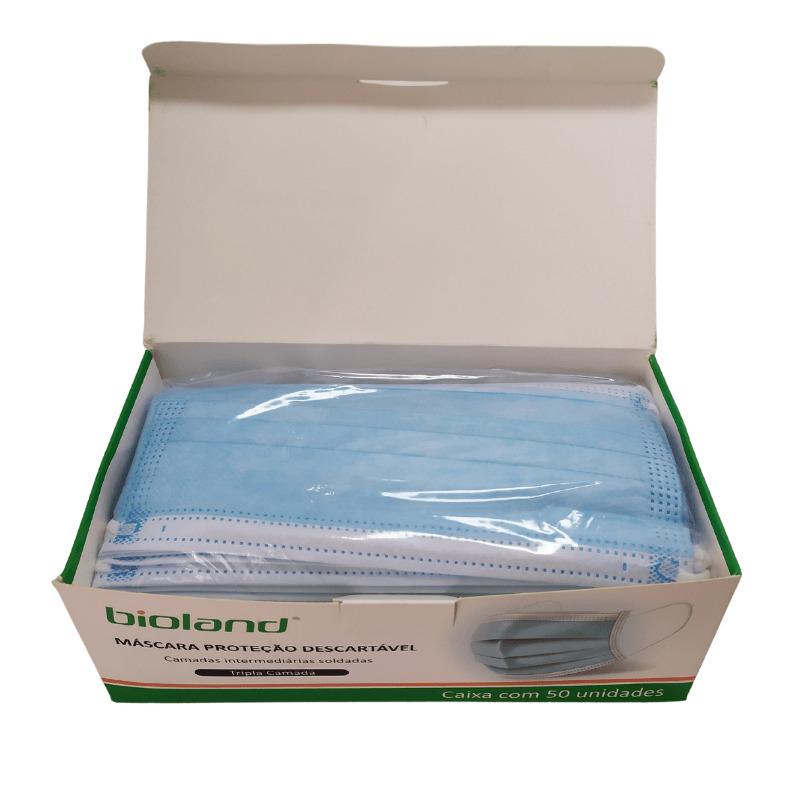 Máscara Tripla Proteção com elástico - Azul - 50 unidades - Bioland