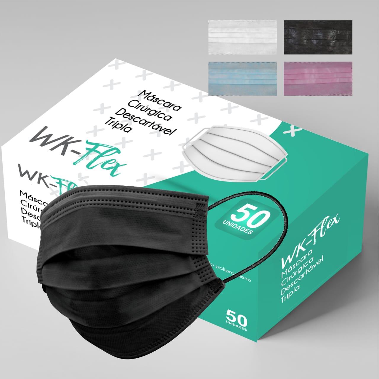Máscara Tripla Proteção Descartável Preta Caixa com 50 - WK-Flex