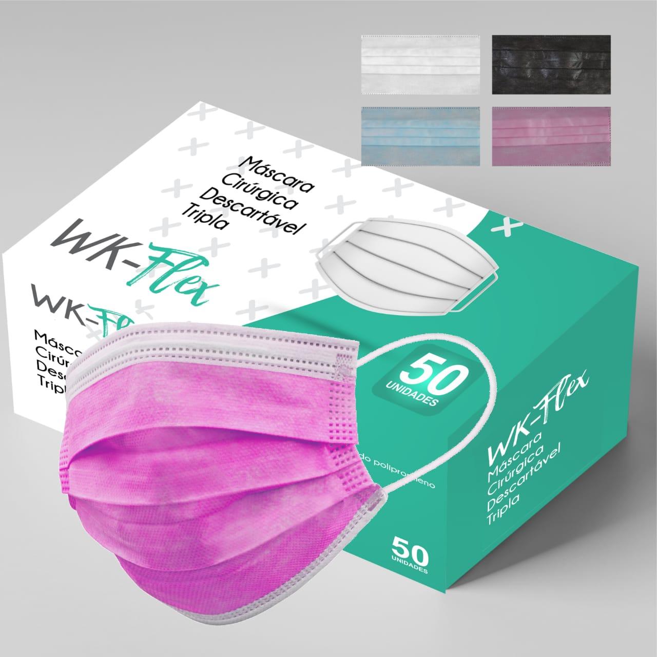 Máscara Tripla Proteção Descartável Rosa Caixa com 50 - WK-Flex