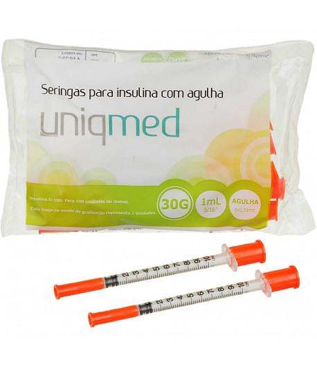 Seringas 1mL para Insulina com Agulha 8x0,30mm 30G - 10 unidades