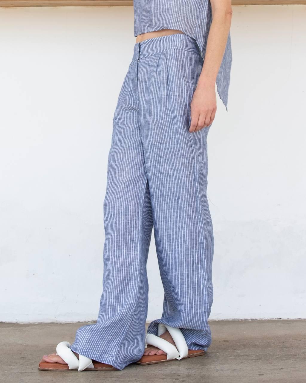 Calça Pantalona Linho Puro