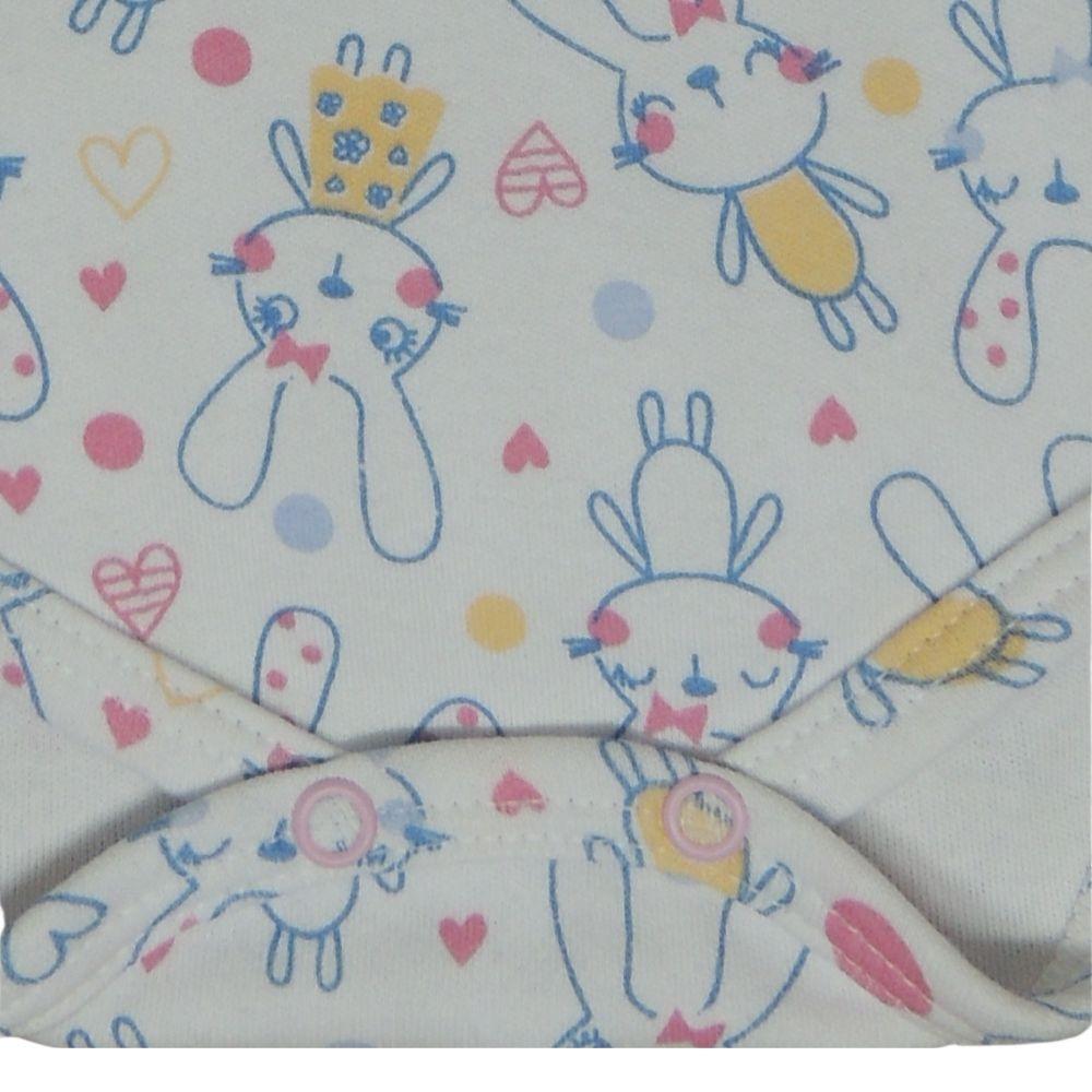 Bodie de Bebê Manga Curta Estampado Coelhinhas