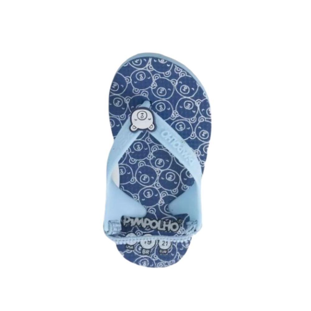 Chinelo Pimpolho Estampado Azul Ursinho