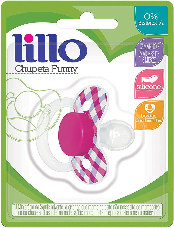 Chupeta Lillo Funny Lilás Xadrez - Tamanho 1