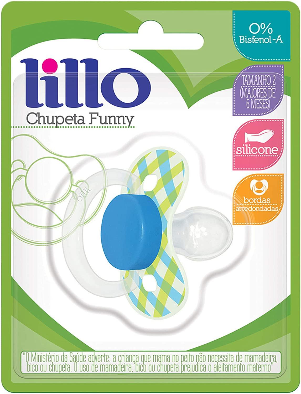 Chupeta Lillo Funny Verde Xadrez - Tamanho 1