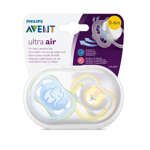 Chupeta Ultra Air 0-6m Elefante/Leão Com Estojo Avent - Philips