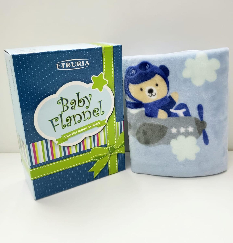Cobertor Toque De Seda Baby Flannel  Azul  Aero - ETRURIA