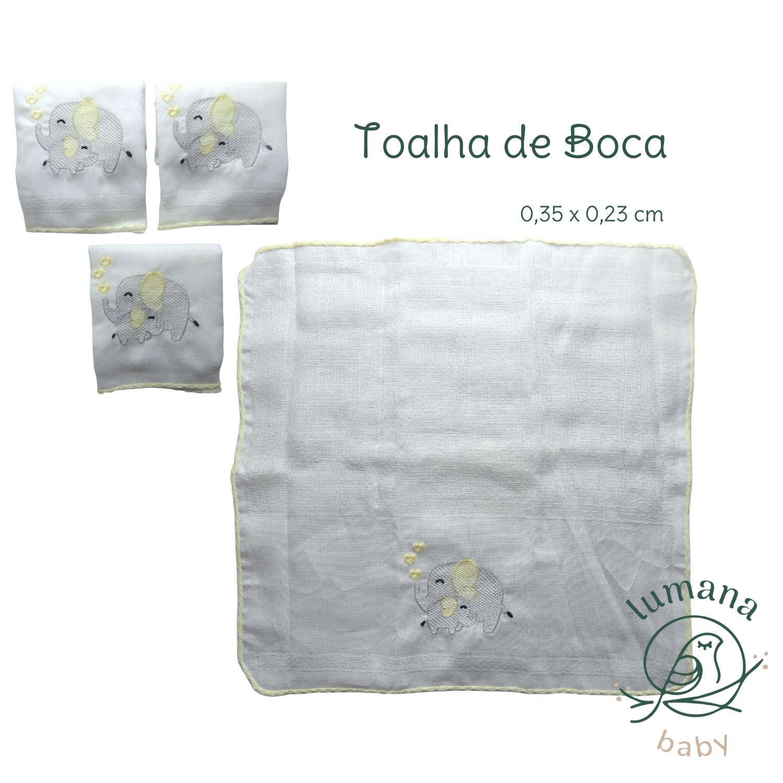 Kit  Presente Fralda de Pano C / Toalha de Boca  Bordada Lumana
