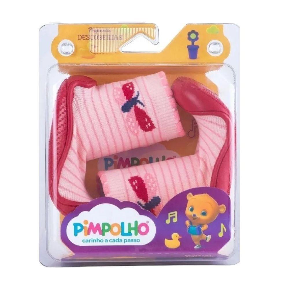 Meia Com Sola Cano Alto Rosa Borboleta  - Pimpolho