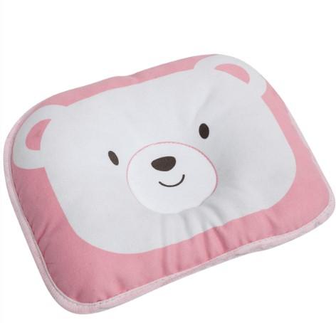 Travesseiro Anatômico para Bebê Urso Rosa - Sonho Bom