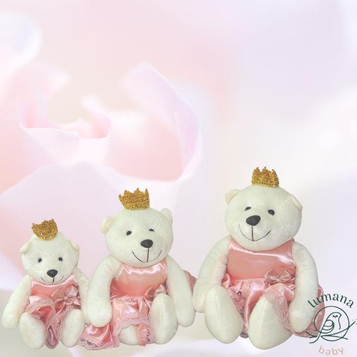 Trio de Pelúcias Para Nichos - Ursinha Princesa