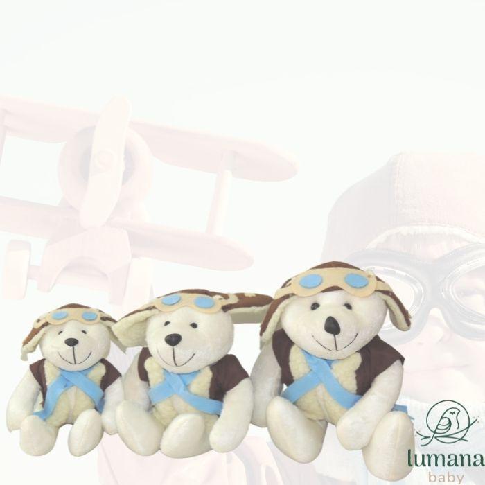 Trio de Pelúcias Para Nichos - Ursinho Aviador